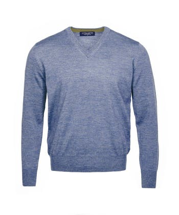 Merino Jumper - V Neck - Mid Blue