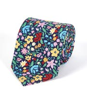 Multi-Floral on Navy - Printed Silk Tie