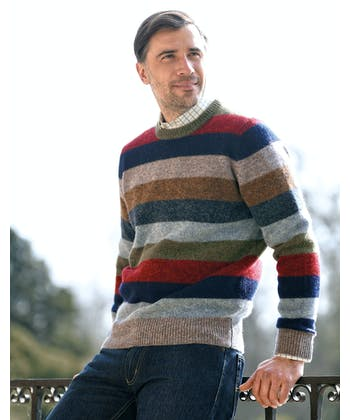 Shetland Jumper - Striped Crew Neck - Blue/Red/Green