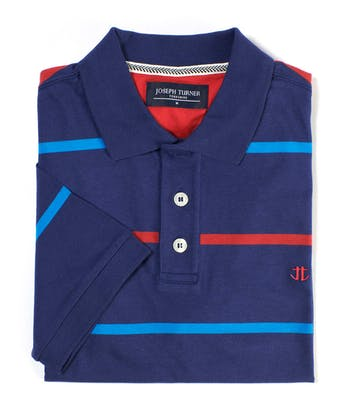 Striped Jersey Polo Shirt - Navy/Blue/Red