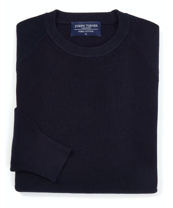 Ribbed Cotton Jumper - Crew-Neck - Navy