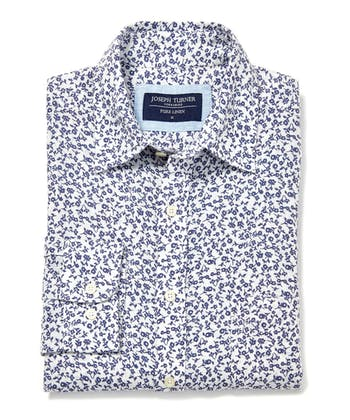 Linen Shirt - Long Sleeve - Navy Flowers on White