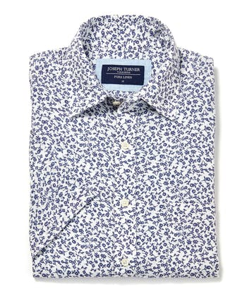 Linen Shirt - Short Sleeve - Navy Flowers on White