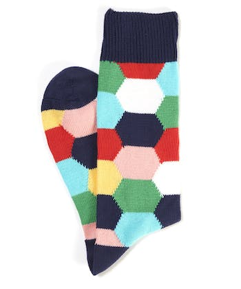 Hexagon Socks - Navy Hexagon