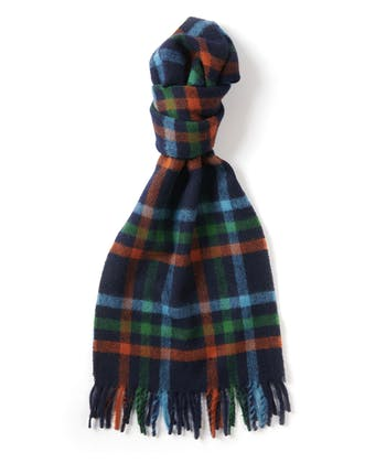 Lambswool Scarf - Navy/Orange/Green
