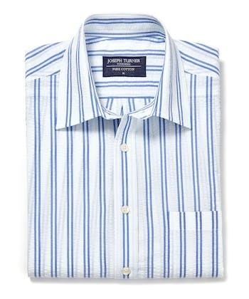 Seersucker Shirt - Short Sleeve - Navy/White Stripe