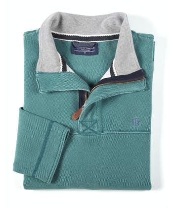Washed Pique Half-Zip Sweatshirt - Ocean Green