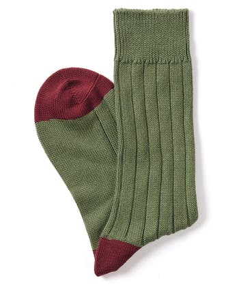 Heel & Toe Cotton Socks - Olive/Port