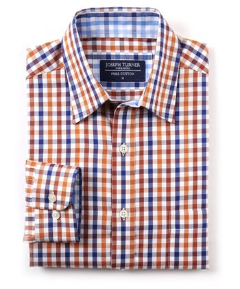 Casual Gingham Check Shirt - Orange/Navy