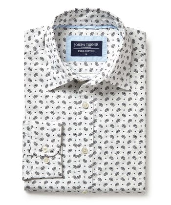Cotton Print Shirt - Paisley on White