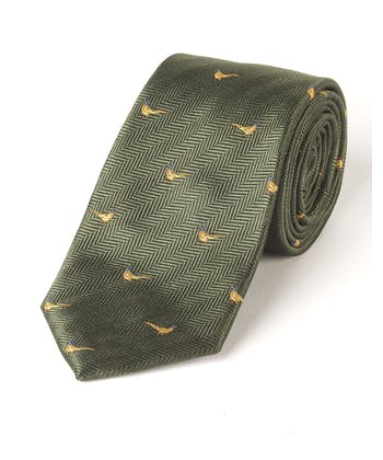 Pheasants on Green - Woven Silk Tie