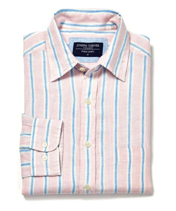 Linen Shirt - Long Sleeve - Pink/Blue Stripe