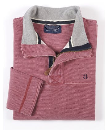 Washed Pique Half-Zip Sweatshirt - Pink