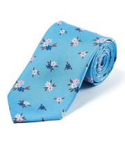 Pink/Navy Flowers on Sky - Printed Silk Tie