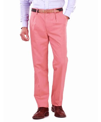 Pleated Front Chinos - Pink