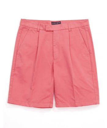 Cotton Twill Shorts - Pleat Front - Pink