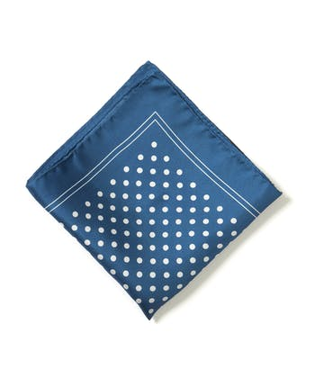 Silk Pocket Square - Polka Dot on Blue