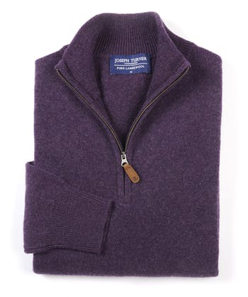 Lambswool Jumper - Half Zip - Purple