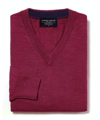 Merino Jumper - V Neck - Raspberry