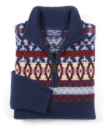 Fair Isle Half-Zip - Red/Blue/Sand