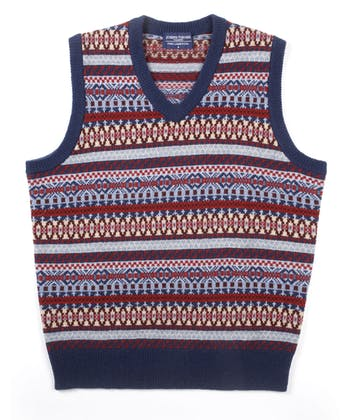Fair Isle Slip-Over - Red/Blue/Sand