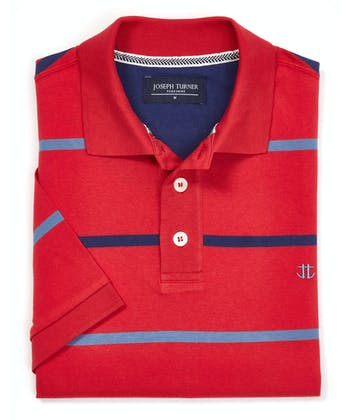 Striped Jersey Polo Shirt - Red/Blue