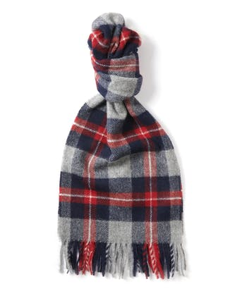 Lambswool Scarf - Red/Navy/Grey