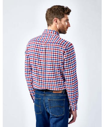 Brushed Cotton Check Shirt - Red/White/Blue