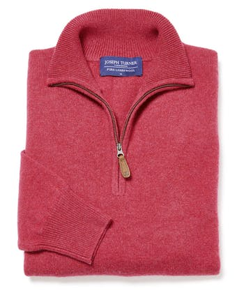 Lambswool Jumper - Half Zip - Rose