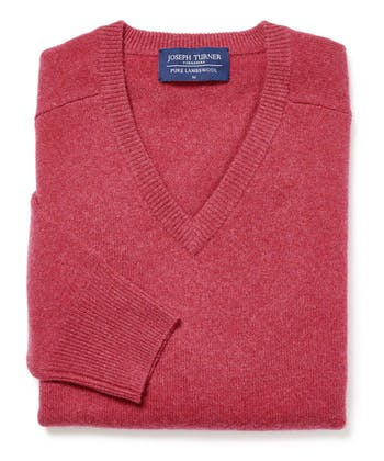 Lambswool Jumper - V Neck - Rose