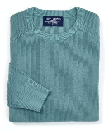 Ribbed Cotton Jumper - Crew-Neck - Sage