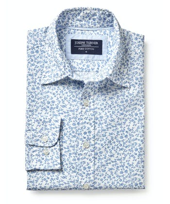 Cotton Print Shirt - Sky Floral on White