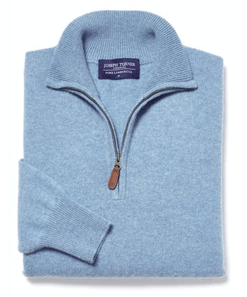 Lambswool Jumper - Half Zip - Sky
