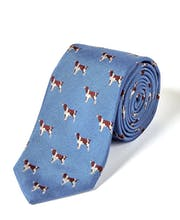 Spaniels on Blue - Woven Silk Tie