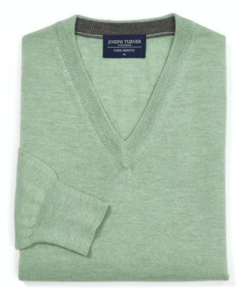Merino Jumper - V Neck - Spring Green