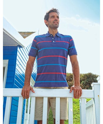 Striped Jersey Polo Shirt - Blue/Navy