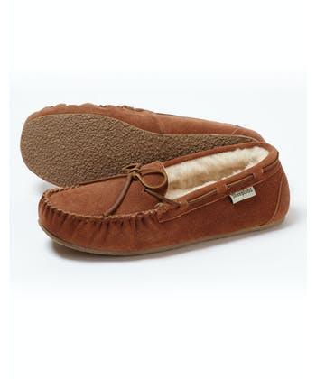 Sheepskin Moccasin Slipper - Tan