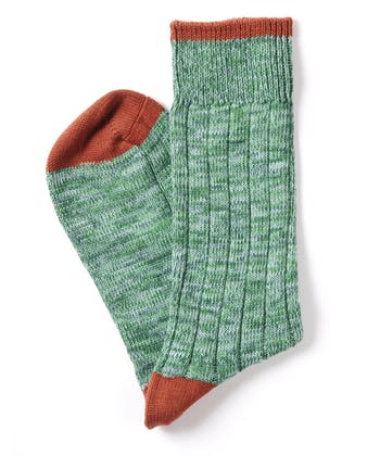 Melange Heel & Toe Socks - Teal/Cinnamon