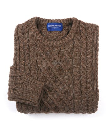 Aran Crew Neck - Walnut
