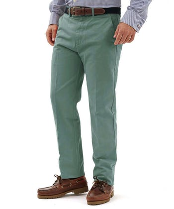 Flat Front Chinos - Washed Green
