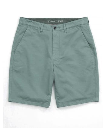 Cotton Twill Shorts - Flat Front - Washed Green