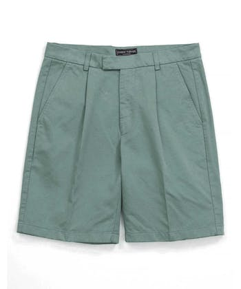 Cotton Twill Shorts - Pleat Front - Washed Green