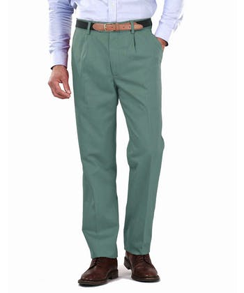 Pleated Front Chinos - Washed Green