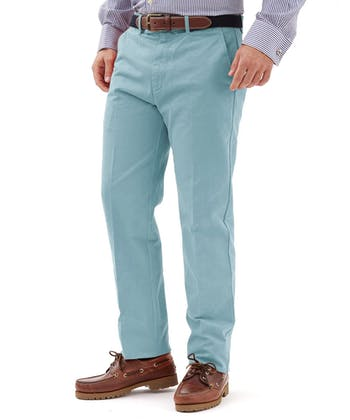 Flat Front Chinos - Washed Teal