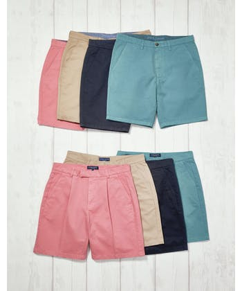 Cotton Twill Shorts - Pleat Front - Washed Teal