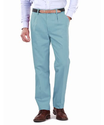 Pleated Front Chinos - Washed Teal