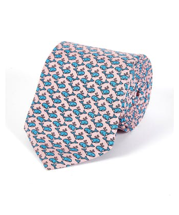 Whales on Pink - Printed Silk Tie