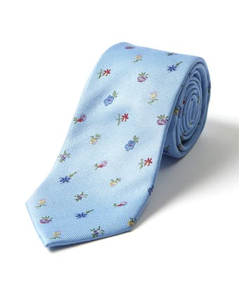 Wildflowers on Sky - Woven Silk Tie