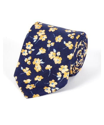 Yellow Flowers on Navy - Printed Silk Tie
