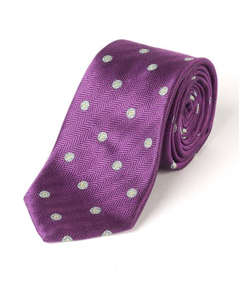 Yorkshire Roses on Purple - Woven Silk Tie